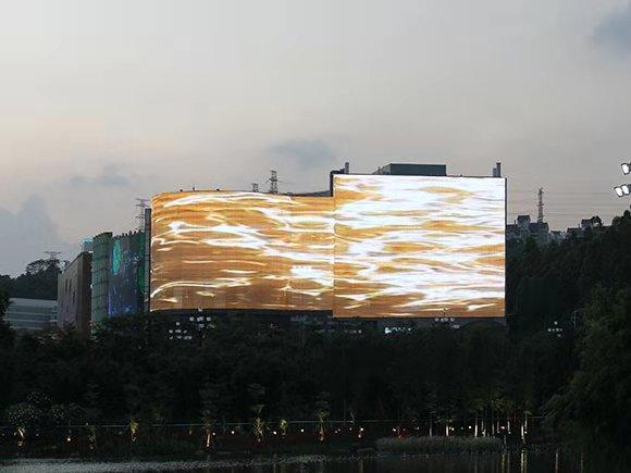 广州科学城水舞声光秀  软幕系列户外LED透明屏