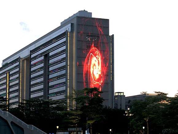 上海青浦绿地 软幕户外透明LED显示屏